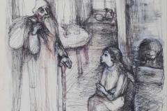 Stylo, encre et aquarelle sur papier